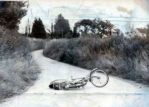 Genette Tate's abandoned bicycle - Genette, aged 13, vanished as she cycled down a Devon lane whilst on a newspaper round in August 1978. Genettes disappearance has become the longest missing persons investigation in Britain.
